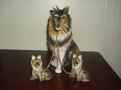 Vintage 3 Piece Collie Dogs on Chains figurines