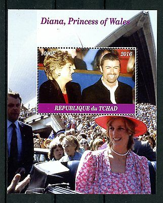Chad 2016 CTO Diana Princess of Wales George Michael 1v M/S I Royalty Stamps