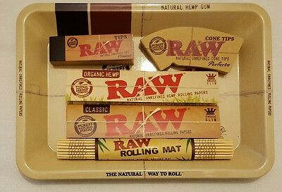 RAW Mini Rolling Tray  Kingsize Rolling Papers Organic  Tips  Bamboo Mat combo