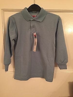 "David Luke Long Sleeve Polo Shirt for Boys & Girls -Sky Blue 60cm/24"" (BNWT)"