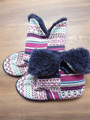 Ladies furry slipper boots, size 5-6