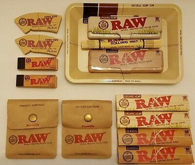 RAW Mini Rolling Tray  Kingsize Rolling Papers  Tips  Bamboo Mat  Ashtray/purse