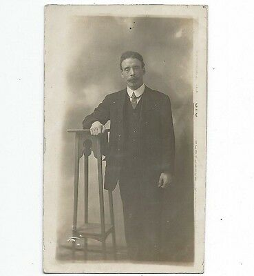 Young Man With Moustache,   Scotland,  Glasgow,  Real Photo