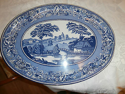 Vintage large oval Tin Tray Daher N.Y Blue/White country scene vgc