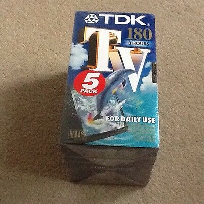 5 x brand new and sealed 180 min / 3 hour TDK VHS tapes