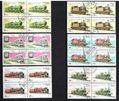 SAHARA OCC R.A.S.D 6 x Blocks of 4 CTO Stamps CORREOS Mint Train Stamps