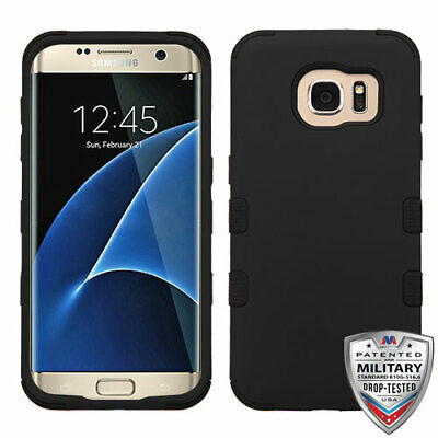Samsung Galaxy S7 Edge ShockProof Rubber Hybrid Protective Hard Case Cover Black