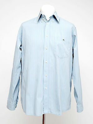 Mens Lacoste Casual Shirt Long Sleeved 100 % Cotton Blue Striped Size Xl Xlarge
