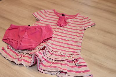 Baby gap oatmeal and pink striped short sleeve dress / girl 2T / EUC