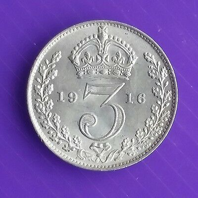 1916 George V Silver Threepence Unc
