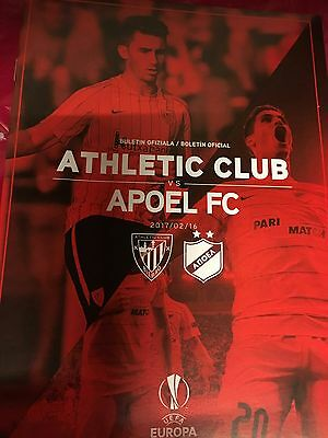 Mint Programm Programme Athletic Bilbao-Apoel Nicosia Cyprus 16-17 Europa League