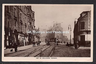 1914 Top Of Hilltown Dundee Posted RP Card Shops & Tram Lines Etc See Scans