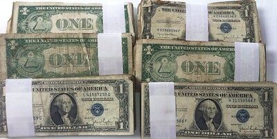 10 Count Lot Of 1957 One Dollar $1 Silver Certificate - RANDOM GRADE
