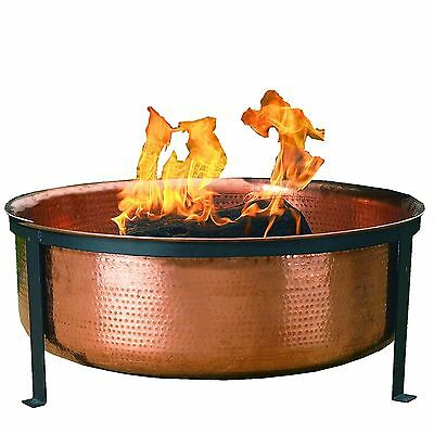 CobraCo Hand Hammered 100% Copper Fire Pit with Screen and Cover SH101