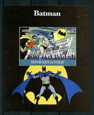 Chad 2016 MNH Batman Robin 1v M/S Comics Cartoons Superheroes Stamps
