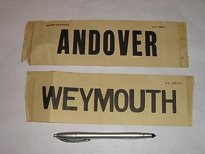 Weymouth and Andover British Railways carriage window destination labels.