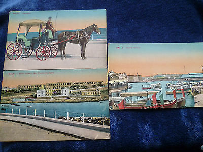 3 early 1910s tinted postcards Malta Pembroke Camp, Grand Harbour, Karrozzin
