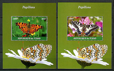 Chad 2016 CTO Butterflies 2x 1v M/S Papillons Insects Stamps