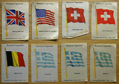 Incomplete 1934 Collection of Kensitas Silk Cigarette Cards of National Flags