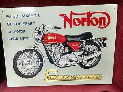 NORTON 750 Commando Machine of the Year by Motocrycle News - OLD Tin Sign Repro