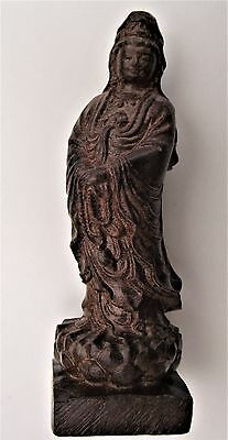Antique Chinese carved hardwood figure of Guanyin, Guan Yin