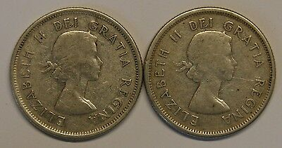Pair of Elizabeth II Canadian Silver (.800) 25 cent coins 1962 & 1964