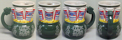 """LUCK OF THE IRISH"" STEIN 1993 with 6 BUDWEISER Beer CANS Above - by Ceramarte!"