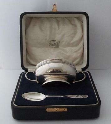 Antique Silver Christening Set Bowl & Spoon Cased Sheffield 1921
