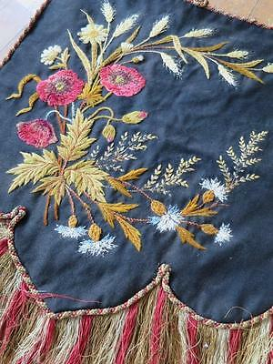 Antique Victorian Silk Embroidered Tapestry Banner Panel - Country Flowers