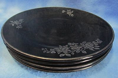 Vintage Black Amethyst Plates w/ Silver Painted Accents - Set of 4
