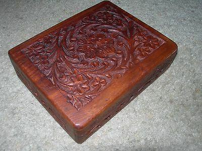 HARD WOOD DECORATIVELY HAND CARVED PLAYING CARD BOX ~ 2 Sections with Cards
