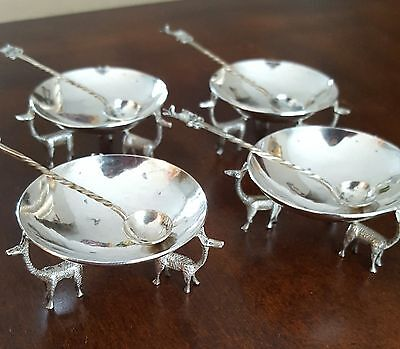 Peruvian Sterling Silver Llama Open Salts with Spoons