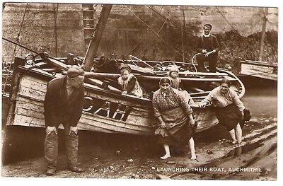 Auchmithie - Launching Their Boat, Arbroath Postcard