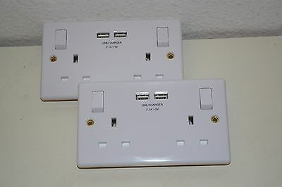 Twin Pack (2) x 13 Amp  Double Sockets c/w Double USB Outputs