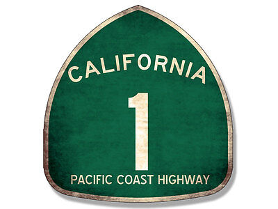 4x4 inch VINTAGE Pacific Coast Highway 1 Sign Shaped Sticker - route one pch old