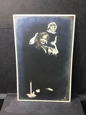 ROTARY ILLUSION SERIES RARE OLD RPPC  GIRL WITH DOLL. Rotary Photo BW 34