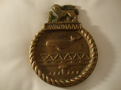 Military regimental solid brass South Africa navy ship plaque old vintage ww2 ?