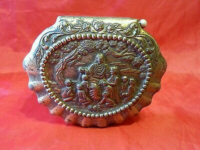 Metal Trinket jewellery Box With Scene Of Jesus? foreign heavy plated metal