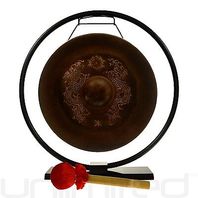 """14"""" Vietnamese Dragon Gong on Au Courant Stand with Mallet"""
