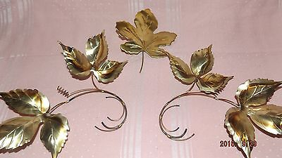 Set Of 3 Pieces, Metal/Brass Leaf Wall Deor, 1 Is A Single Leaf