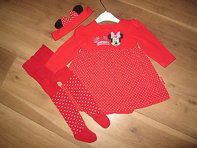 Baby Girls Dress,tights And Headband So Cute Age 3-6 Months Disney Minne