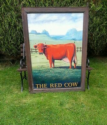 THE RED COW hand painted pub sign advertising breweriana man cave large wall art