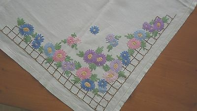 Vintage hand embroidered tablecloth in floral design.