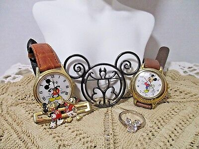 5 Pc Lot Of Vintage Disney Jewelry-Ring-Hair Piece-2 Watches-Pin