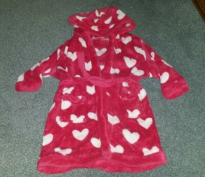 Pink heart fleece dressing gown 12-18 months