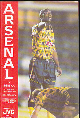 1991/92 ARSENAL V BENFICA 06-11-1991 European Cup 2nd Round 2nd leg