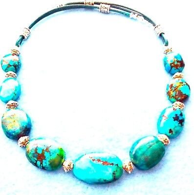 #453 SALE$30.Off REAL TURQUOISE MULTI-COLORS+SHAPES+LEATHER NECKLACE+NATIVE MADE