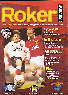 1996/97 SUNDERLAND V ARSENAL 15-01-1997 FA Cup 3rd Round Replay