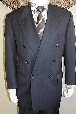 Hugo Boss 100% Wool Navy Double Breasted Suit Men's Size 42 R Muted Stripe