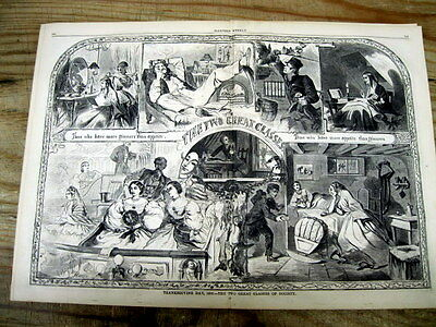 1860 illustr newspaper THANKSGIVING DAY poster INEQUALITY of RICH & POOR CLASSES